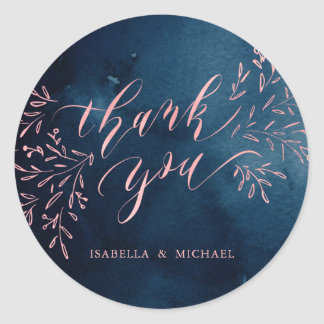 Navy blush calligraphy thank you rustic floral classic round sticker