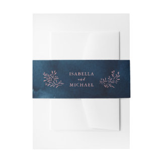 Navy blush rustic floral wedding invitation belly band