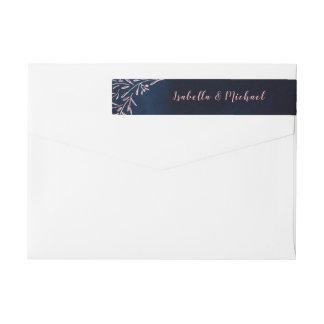 Navy blush rustic floral wedding wrap around label