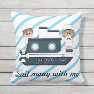 Navy Boat Sailor Stripes Blue Outdoor Pillow