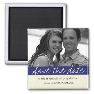 Navy Bold Banner Photo Save The Date Magnet