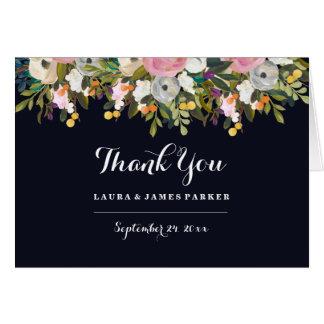 Navy Botanical Wedding Thank You Card