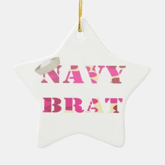 Navy Brat Birth Announcement/ 1st Christmas Orname Ceramic Ornament