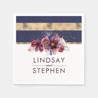 Navy Burgundy and Gold Floral Stripes Wedding Disposable Napkins
