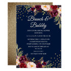 Navy Burgundy Floral Confetti Brunch and Bubbly Card