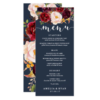 Navy Burgundy Floral Wedding Menu Card