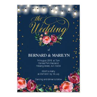 Navy Burgundy Marsala Floral Autumn Wedding Card