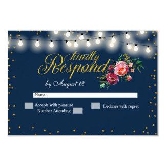 Navy Burgundy Marsala Floral Wedding RSVP Card