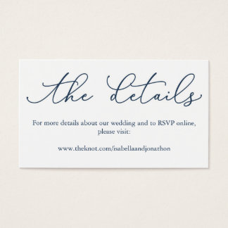 Navy Calligraphy Wedding Website Enclosure Card