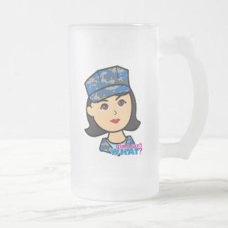 Navy Camo Head Medium Frosted Glass Beer Mug