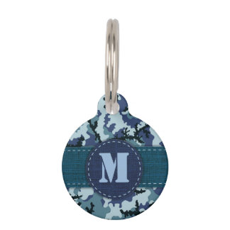 Navy camouflage pet name tag