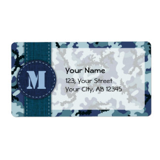 Navy camouflage shipping label