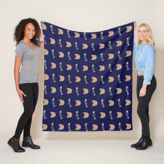 Navy Cat & Fish bone Patterned Blanket