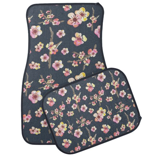 Navy Cherry Blossom Floral Car Floor Carpet