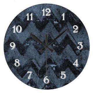 Navy Chevron Abstract Large Clock