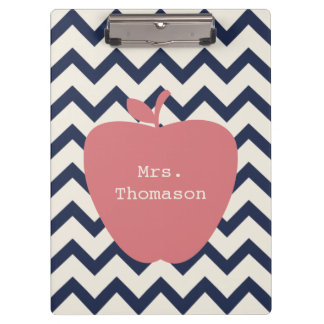 Navy Chevron Coral Apple Teacher Clipboard