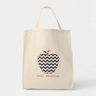 Navy Chevron & Coral Teacher Apple Tote Bag