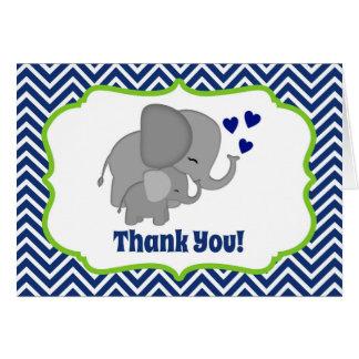 Navy Chevron Elephant Love Thank You Note FOLDING Card