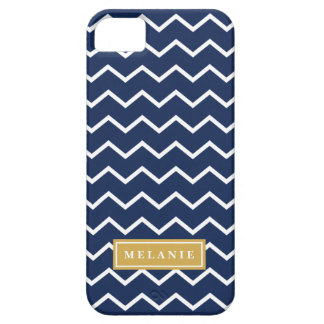 Navy Chevron Pattern Gold Name Template Case For The iPhone 5