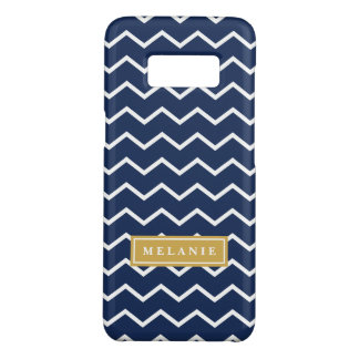 Navy Chevron Pattern Gold Name Template Case-Mate Samsung Galaxy S8 Case
