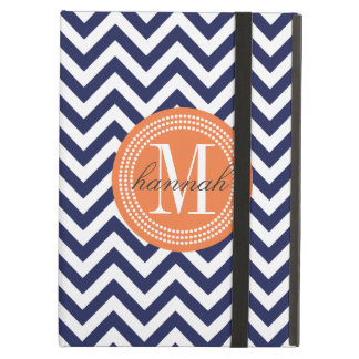 Navy Chevron Zigzag Personalized Monogram Case For iPad Air