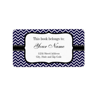 Navy Chevron Zigzag Stripes Label