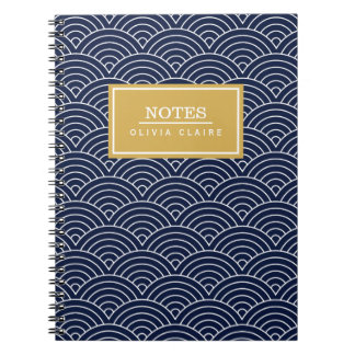 Navy Circle Wave Pattern Gold Name Template Notebook