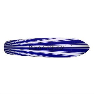 Navy Color Stripe Funky Pattern Skate Board