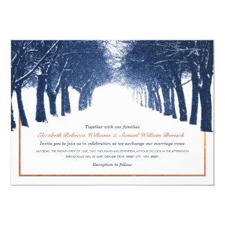 Navy Copper Winter Trees Avenue Wedding Invite