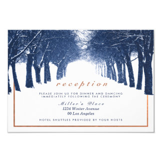 Navy Copper Winter Trees Avenue Wedding Reception Card