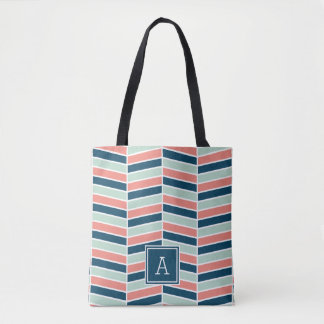 Navy, Coral and Aqua Herringbone Monogram Tote Bag