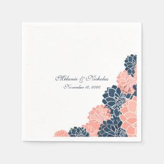 Navy Coral Dahlias wedding or bridal shower napkin Disposable Napkin