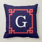 Navy, Coral Red Greek Key Frame #2 Init Monogram Throw Pillow