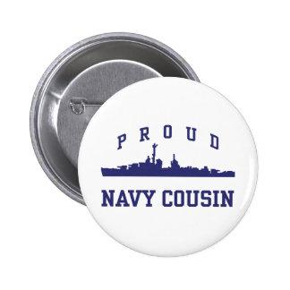 Navy Cousin 2 Inch Round Button