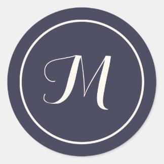 Navy & Cream Calligraphy Initial Monogram Classic Round Sticker