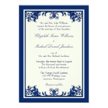 "Navy Cream Vintage Flourish Scroll Wedding 5"" X 7"" Invitation Card"