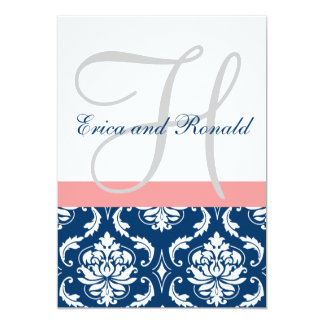 Navy Damask Coral Monogram Wedding Invitation