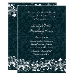 Navy Damask Cream Floral Wedding Invitation