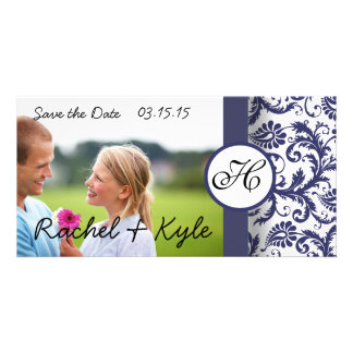Navy Damask Save the Date Photo Card
