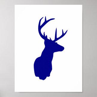 Navy Deer Poster - Blue Nursery