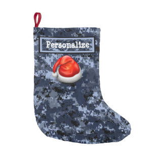 Navy Digital Camo Christmas Stocking w/ Santa Hat