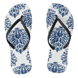 Navy Elegant Damask Flip Flops