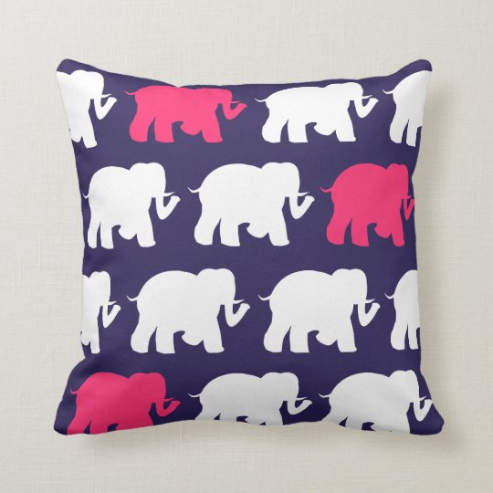 Navy elephants throw pillow
