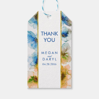 Navy Fall Floral Gold Frame Chic Wedding Pack Of Gift Tags