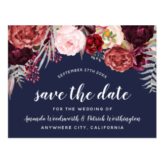 Navy Fall Marsala Blush Peony Save The Date Cards