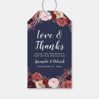 Navy Fall Marsala Blush Peony Wedding Favor Tags