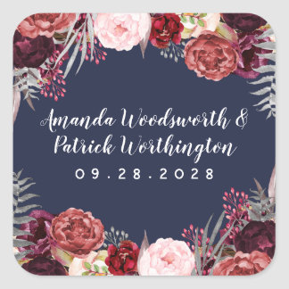 Navy Fall Marsala Blush Pink Peony Wedding Favor Square Sticker