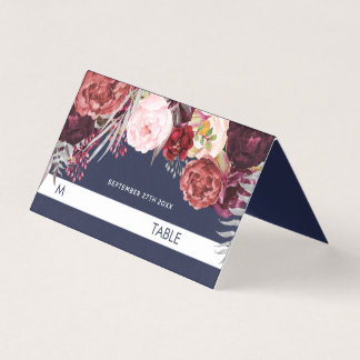 Navy Fall Marsala Peony Wedding Tent Place Cards