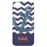 Navy Faux Glitter Anchor Chevron Personalized iPhone 5 Covers