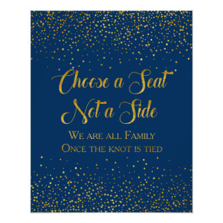 Navy Faux Gold Glitter Confetti Wedding Seating Poster